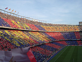 Camp Nou - A view of the supporters' side during a match, showing the FC Barcelona colours.