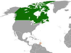 Map indicating locations of Canada and Grenada