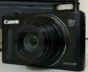 Canon PowerShot - A black Canon PowerShot SX610 HS.