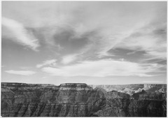 "Canyon edge, low horizon, clouded sky, ""Grand Canyon National Park,"" Arizona., 1933 - 1942 - NARA - 519900.tif"