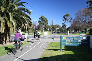 Capital City Trail at Princes Park looking west