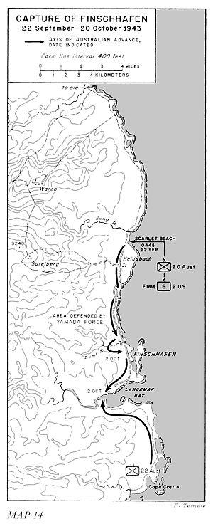 Battle of Finschhafen - Map showing the capture of Finschhafen