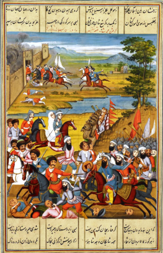 Battle of Krtsanisi - The capture of Tbilisi by Agha Muhammad Khan. A Qajar-era Persian miniature from the British Library.