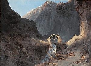 King post - Construction of the second bridge, Karl Blechen (c. 1833)
