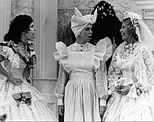 "On The Carol Burnett Show, L-R: Carol Burnett, Vicki Lawrence, and Dinah Shore in the sketch ""Went with the Wind!"", 1977."