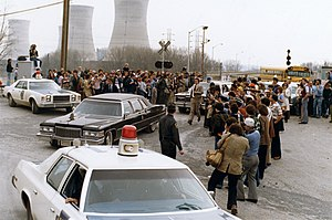 Nuclear history of the United States - President Jimmy Carter leaving Three Mile Island for Middletown, Pennsylvania, April 1, 1979