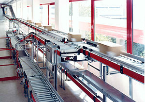 Conveyor system - Roller conveyor for carton transport in the apparel industry