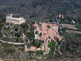 View of Castelnou and its castle