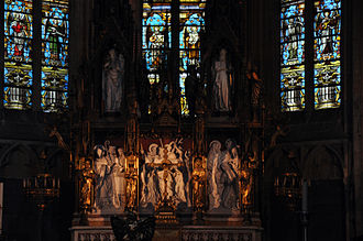 Liège Cathedral - Saint Paul's Cathedral of Liege, altar of the abbey chapel and its altarpiece.