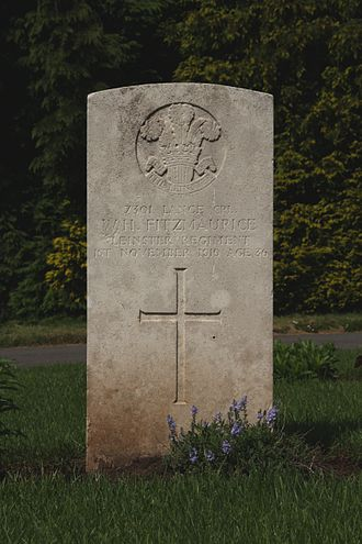 Prince of Wales's Leinster Regiment (Royal Canadians) - Grave in Cathays Cemetery, Cardiff, Wales, of Sergeant WH Fitzmaurice, Leinster Regiment, who died in 1919