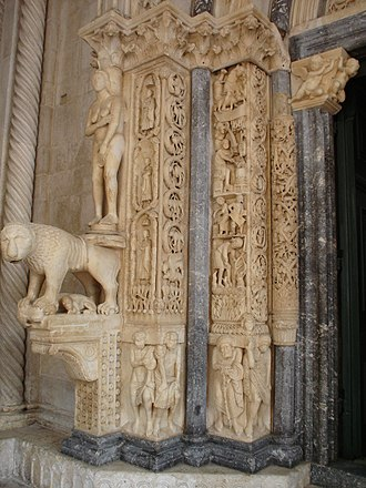Trogir Cathedral - Image: Cathedral of St. Lawrence, Trogir entrance detail (right side)