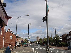 Falls Road, Belfast - Falls Road looking towards Divis flats and the city centre.
