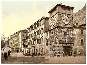 "Architecture of Montenegro - Postcard of Old Cattaro, showing typical venetian architecture buildings and the ""Clock tower"""