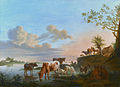 Cattle and Sheep on a River Bank with Fishermen beyond, by Balthasar Paul Ommeganck.jpg