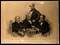 Celebrated psychologists, gathered around a table. Lithograp Wellcome V0006740.jpg