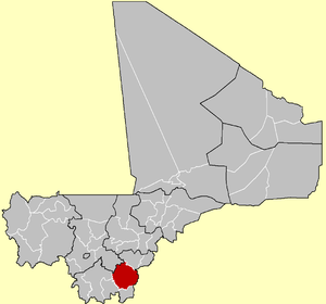 Location of the Cercle of Sikasso in Mali