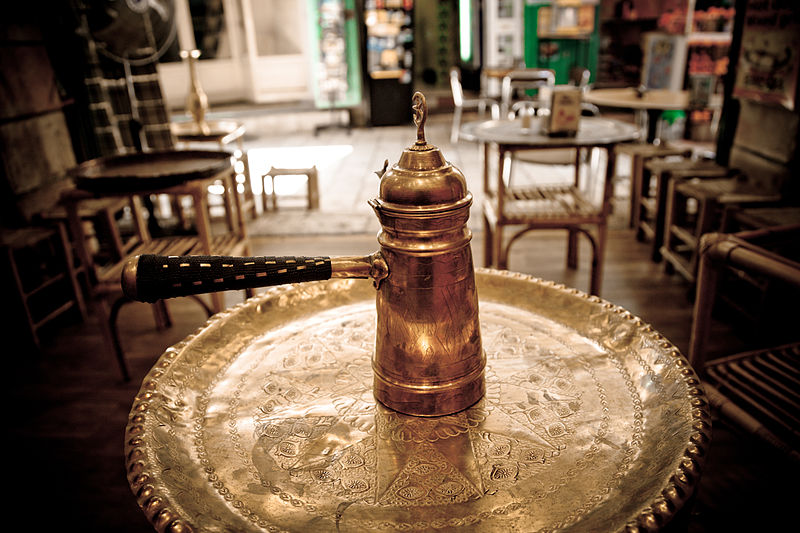 File:Cezve coffee pot in a small coffee shop on the side of the road..jpg