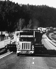 Chacon being towed on Glenn Highway near Anchorage, Alaska.