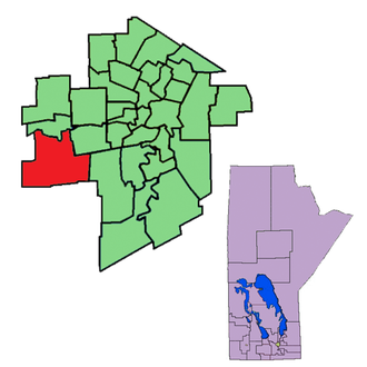 Charleswood (electoral district) - The 1999-2011 boundaries of Charleswood highlighted in red.