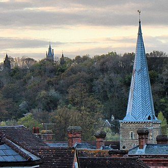 Godalming - The spire of Church of St. Peter & St. Paul, Godalming with Charterhouse School visible in the distance
