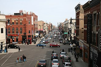 North Avenue (Chicago) - North Avenue, looking east, at the intersection of Damen Avenue and Milwaukee Avenue.
