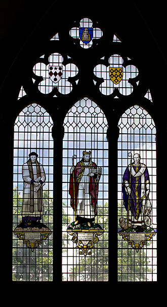 Reginald Pecock - Stained glass window in Chichester Cathedral depicting Reginald Peacock, Ralph of Luffa and Wilfrid, all Bishops of Chichester
