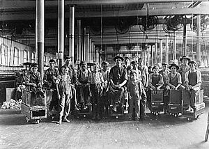 Newberry, South Carolina - A few of the doffers and sweepers in the Mollahan Mills. December 1908. Photographed by Lewis Hine.