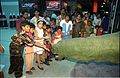 Children Touching Apatosaurus - Dinosaurs Alive Exhibition - Science City - Calcutta 1995-June-July 408.JPG