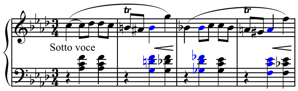 Chopin - Mazurka in F minor, op. 68, no. 4, m. 1-4, dominant sevenths