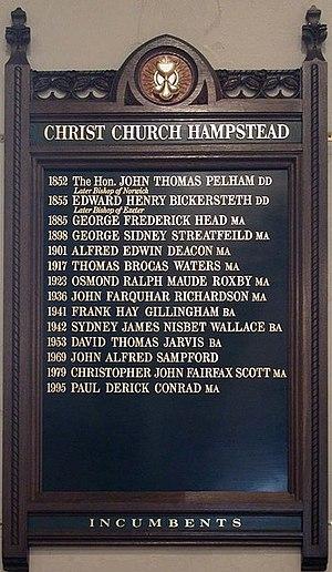 Christ Church, Hampstead - List of vicars