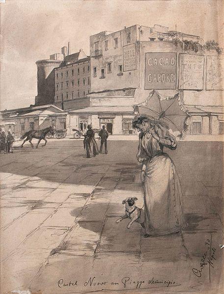 File:Christian Wilhelm Allers Castel Nuovo an der Piazza Municipio 1893.jpg