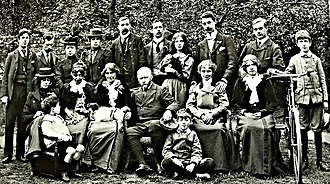 Karl Parsons - Garden party at Whall's house. Karl Parsons standing back row, first left.