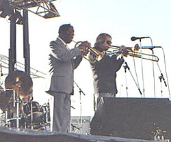Brookmeyer insieme a Clark Terry (Clearwater Jazz Festival, anni '80)
