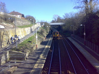 Clarkston railway station - Easterly view from footbridge
