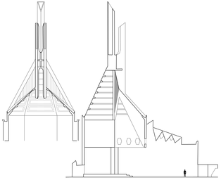 Architectural section through Clifton Cathedral, showing the flèche, spires and the interior star beam (with hexagon cutouts).