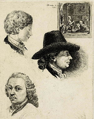 Louis Bernard Coclers - Studies by L.B. Coclers with selfportrait (right) and portraits of his son (upper left) and father, J.-B. Coclers (bottom left)