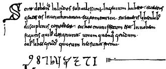 Codex Vigilanus - The first Arabic numerals in the West.