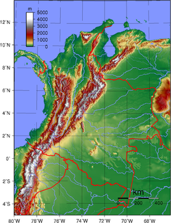 Topography of the 31 departments of Colombia (not including San Andres y Providencia)
