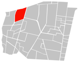 Location of Colonia Nápoles (in red) within Benito Juárez borough