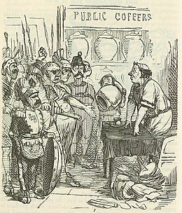 Comic History of Rome p 162 Hanno announcing to the Mercenaries the Emptiness of the Public Coffers.jpg