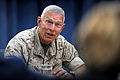 Commandant of the Marine Corps Gen. James Conway holds a press briefing at the Pentagon Aug. 24, 2010, to talk about his recent trip through the U.S. Central Command area of responsibility 100824-D-WQ296-044.jpg