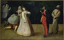 [?].  Prima Buffa della Compagnia dei Comici Gelosi.  1590. Óleo sobre lienzo.  [?].  Museo Carnavalet.