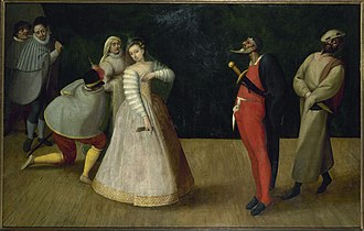 Isabella Andreini - The commedia dell'arte troupe of the Gelosi in a late 16th-century Flemish painting (Musée Carnavalet, Paris). The woman is usually identified as Isabella.