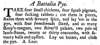 The Compleat Housewife - Recipe for battalia pye from Eliza Smith's The Compleat Housewife, 9th edition, 1739.