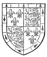 Fig. 729.—Thomas de Beaufort, Earl of Dorset, brother of John, Earl of Somerset (Fig. 724): France and England quarterly, a bordure compony ermine and azure. (From his Garter plate.)