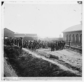 Chattanooga, Tennessee - Confederate prisoners at a railroad depot in Chattanooga, 1864