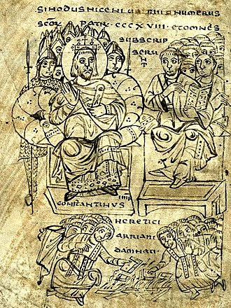 Unitarianism - Constantine I burning Arian books, illustration from a book of canon law, c. 825
