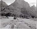 Construction of sanitation station near entrance to South Campground. ; ZION Museum and Archives Image 003 01B001 ; ZION 7987 (9e6e1cbb12114f1b816adf757fd68e29).jpg