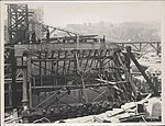 Construction of the northern main bearing of the Sydney Harbour Bridge, 1927 (8282702589).jpg