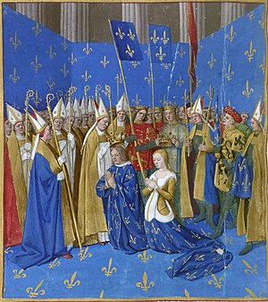 Coronation of the French monarch - Coronation of Louis VIII of France and Blanche of Castile at Reims in 1223; a miniature from the Grandes Chroniques de France, circa 1450.